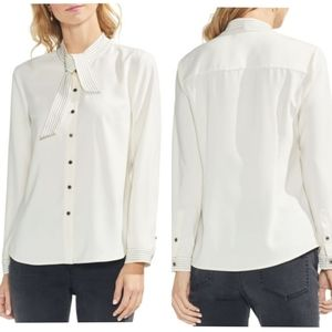 New! VINCE CAMUTO TOPSTITCHED TIE-COLLAR SHIRT XS